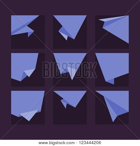 Origami banner flat vector illustration. Isolated origami badge. Origami speech bubble. Origami ribbon. Origami vector banner isolated. Origami banner concept. Origami banner template. Origami style. Origami speech banner. Origami tag.