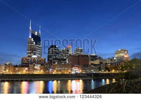 City of Nashville at dusk with river front during early evening