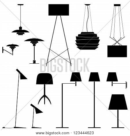 Set of different lamps. Black silhouette of floor lamps, table lamps and sconce. Vector illustration EPS10