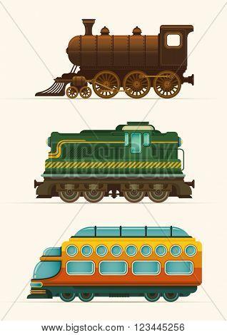 Set of locomotives. Vector illustration.