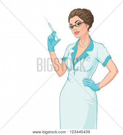 Vector illustration. Attractive young nurse with a syringe in her hand. Isolated on white background