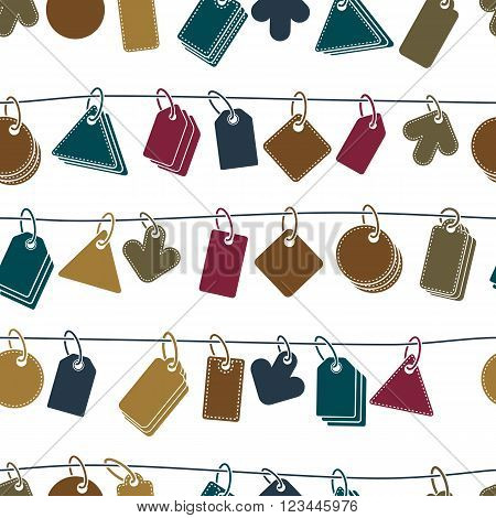 Sale tags on a rope seamless background vector icon set elements easy to use separately as icons.