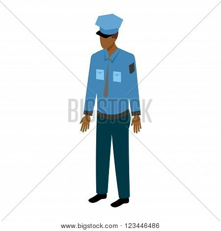 African-American man in a police uniform standing full face. Stock Vector Isometric-style games, infographics, reports, websites and icons