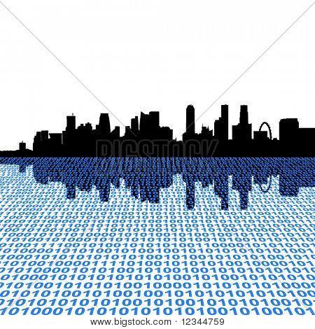 Singapore skyline with binary code foreground illustration