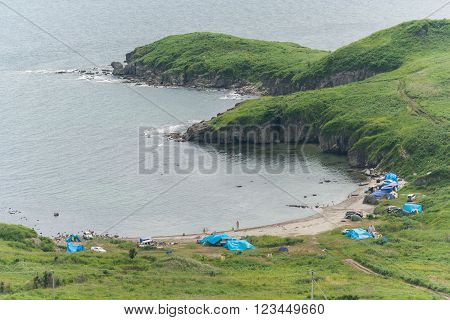Camping At Camp Sites On The Beach Near Vladivostok,  Russia