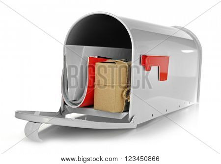 Mailbox with gift box and correspondence isolated on white poster