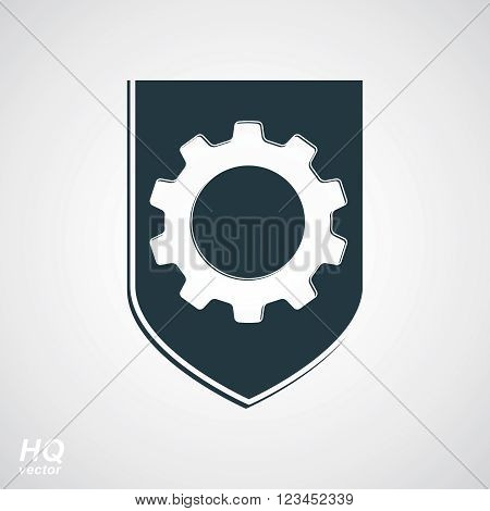 Graphic gear symbol on a shield heraldic escutcheon with an engineering design element.