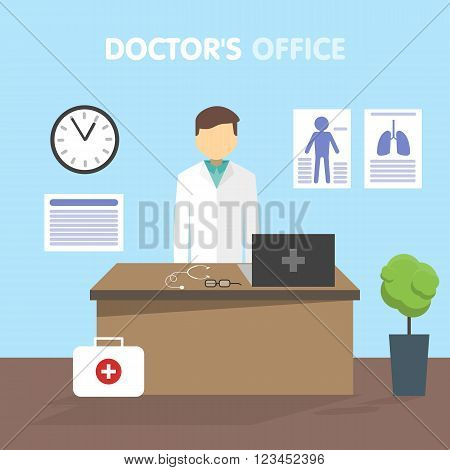 Doctor in his office at his workplace. On the table are tools and laptop. Before the desk first aid kit. On the wall hang conceptual outpatient card. Vector illustration in a flat style.