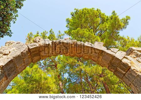 Phaselis Sea  Bush Gate  In Greece And  Temple