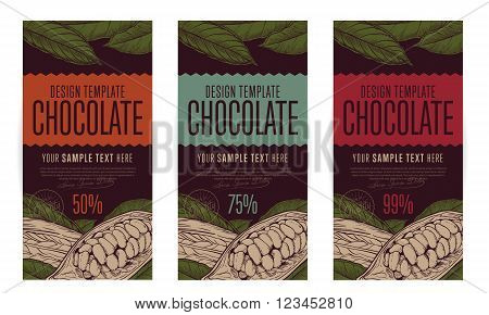 Chocolate packaging design template vector illustration. Abstract brand of chocolate. Three different flavor. Vintage and Eco style.