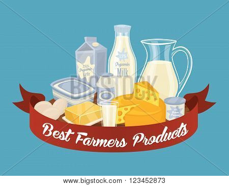 Dairy milk composition isolated on blue background. Organic farmers food. Organic food and dairy product concept. Milk product icon. Cartoon dairy product. Dairy icon.