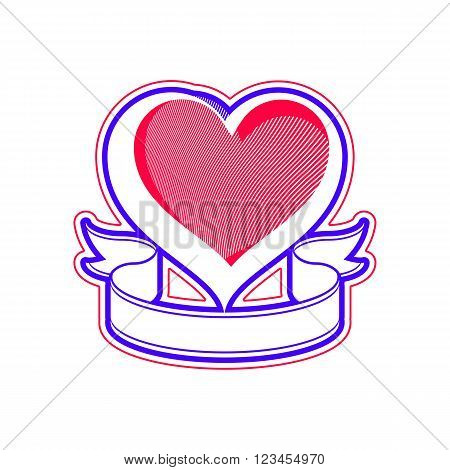 Loving heart vector illustration. Love conceptual symbol with simple ribbon and copy space for your text. Valentines day romantic design element.