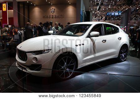 GENEVA, SWITZERLAND - MARCH 1: Geneva Motor Show on March 1, 2016 in Geneva, Maserati Levante, front-side view