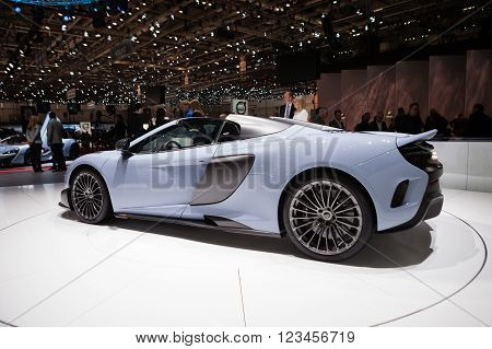 GENEVA, SWITZERLAND - MARCH 1: Geneva Motor Show on March 1, 2016 in Geneva, McLaren 675LT, side view