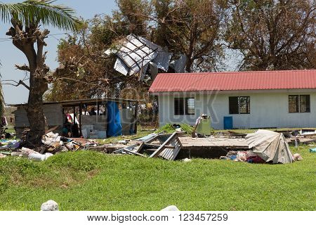 March 18 2016 - destruction caused by tropical cyclone Winston. Island Viti Levu. Fiji