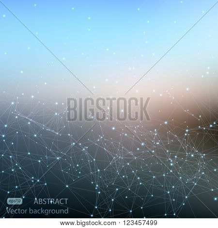 Abstract polygonal mesh space futuristic background. Digital blurred technology style. Defocused blank for business presentations or gift cards. Vector EPS10