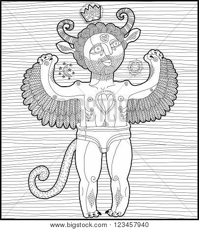 Vector hand drawn graphic stripy illustration of weird spirit cartoon nude man with wings animal side of human being. Idol concept artistic allegory drawing.