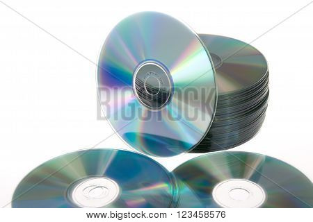 Still Life Portrait Of A Stack Of Compact Disc