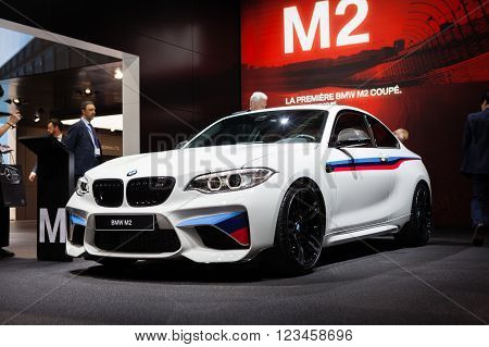 GENEVA, SWITZERLAND - MARCH 1: Geneva Motor Show on March 1, 2016 in Geneva, BMW M2, front-side view