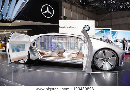 GENEVA, SWITZERLAND - MARCH 1: Geneva Motor Show on March 1, 2016 in Geneva, Mercedes-Benz F 015 Concept Vehicle, side view
