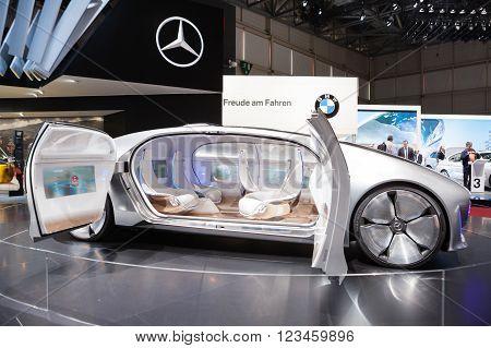 GENEVA, SWITZERLAND - MARCH 1: Geneva Motor Show on March 1, 2016 in Geneva, Mercedes-Benz F 015 Concept Vehicle, side view