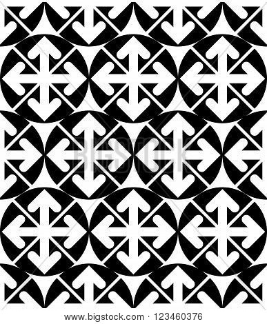 Futuristic black and white extraordinary geometric seamless pattern with symmetric circles and arrows. Monochrome continuous texture best for graphic and web design.
