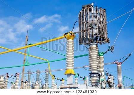 substation electrical power high voltage. electrical power transformer in high voltage substation poster