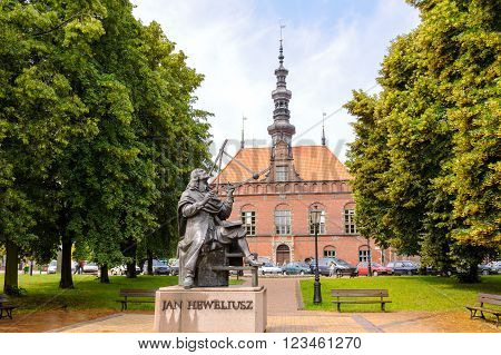 GDANSK POLAND - JULY 6 2009: Sculpture of Jan Heweliusz observing with a quadrant and alidade designed by Jan Szczypka located in the park across the Old Town Hall