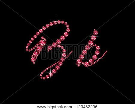 Bb in stunning Ruby Script precious round jewels isolated on black.