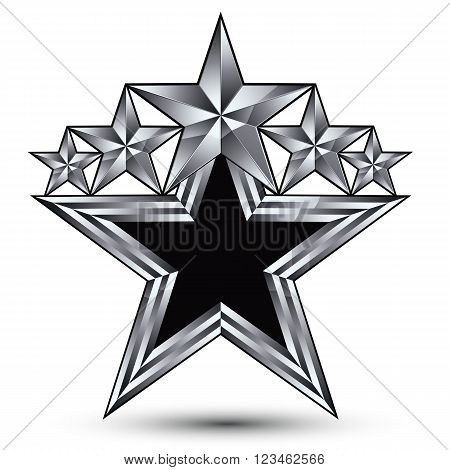 Royal Black Star With Silver Outline, Geometric Five Stylized Silver Stars, Best For Use In Web And