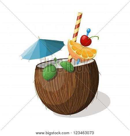 Exotic coconut cocktail isolated on white. Vector illustration