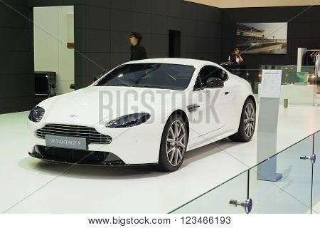NONTHABURI - MARCH 23: NEW Aston Martin V8 Vantage S on display at The 37th Bangkok International Motor show on MARCH 23, 2016 in Nonthaburi, Thailand.
