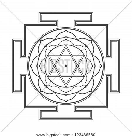 Monocrome Outline Bhuvaneshwari Yantra Illustration.