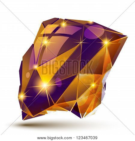 Plastic Pixilated Dimensional Complicated Object, 3D Dotted Geometric Element Isolated On White Back