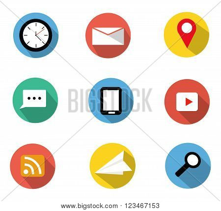 Flat icons set contain clocke-maillocationchatsmart-phonevideo clipsrss feedpaper planesearch