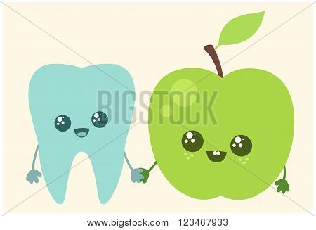 Tooth and apple. Vector illustration. Best friends