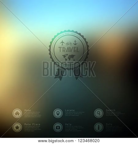 Vector illustration web and mobile phone interface flat template. Travel business corporate website design blur. Minimalistic multifunctional media environment backdrop. Ribbon badge label over sea and beach background. Editable. Blurred. Unfocused. Ocean
