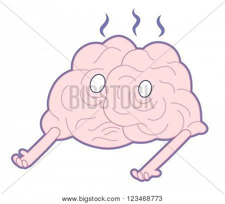 Am I alive, flat cartoon vector illustration - a damaged melting smoking brain lying on the floor. Part of a Brain collection.