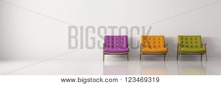 Modern interior background with three multicolored armchairs against of white wall panorama 3d rendering