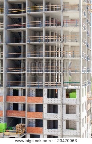 Monolithic frame construction of the building. Solid walls of concrete. Formwork for walls made of concrete. Construction of the building. Masonry walls and aerated concrete masonry walls poster