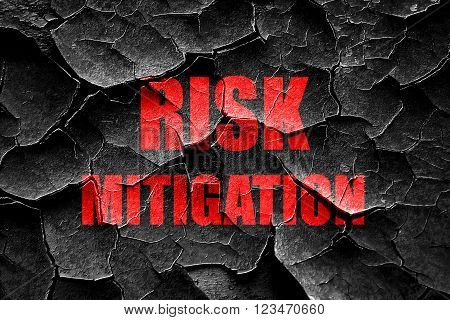 Grunge cracked Risk mitigation sign with some smooth lines and highlights poster