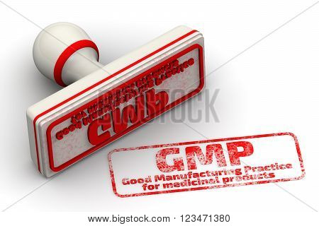 "GMP. Good Manufacturing Practice for medicinal products. Red seal and imprint ""GMP. Good Manufacturing Practice for medicinal products"" on a white surface. 3D Illustration. Isolated poster"