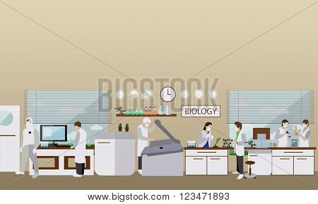 Scientist working in laboratory vector illustration. Science lab interior. Biology education concept. Male and female engineers making research and experiments.