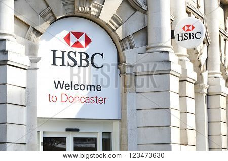 Doncaster, UK - march 14, 2016: The main entrance to HSBC branch bank.