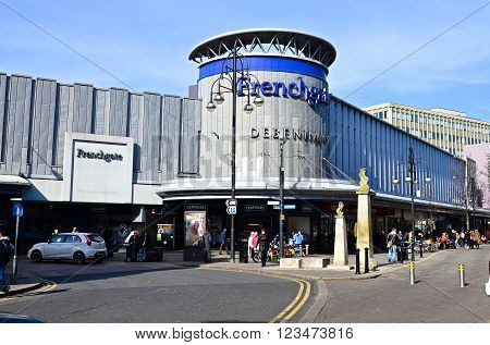 Doncaster, UK - march 14, 2016: The main entrance to shopping centre at Frenchgate.