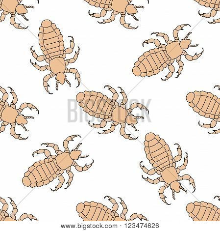 Seamless pattern with head human louse. Pediculus humanus capitis .    hand-drawn head human louse . Vector illustration