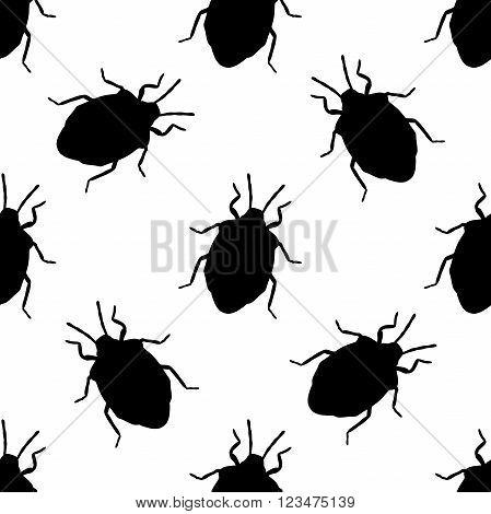 Seamless pattern with shield bug. Palomena prasina hand-drawn shield stink bug. Palomena prasina. Vector illustration