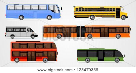 Flat design illustration city transportation, bus, intercity, long distance tourist coach bus and scool bus