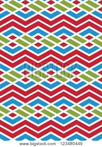 Bright abstract seamless pattern with interweave lines. Multicolored vector psychedelic pattern with stripes. Endless decorative background.