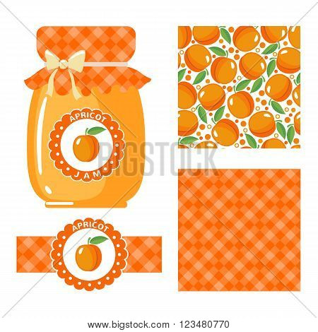 Apricot jam collection. Set of paper labels and seamless patterns Gingham Apricots on white background. Design for package, wrapping paper, textile. Vector illustration